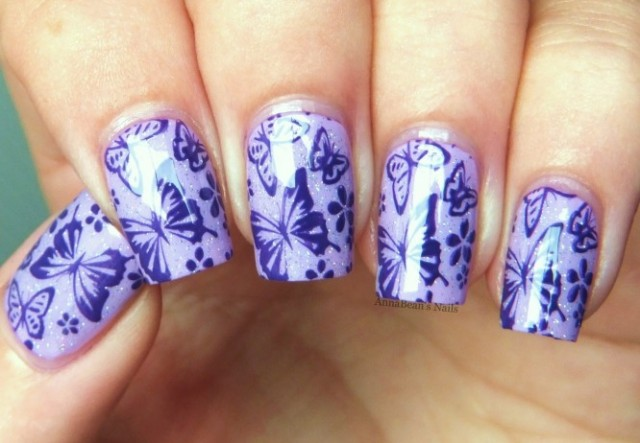 Purple Butterfly Nails