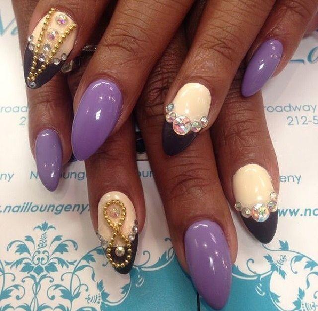 Purple Nails with Jewel