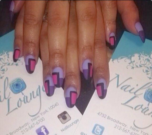 Purple Tartan Nails