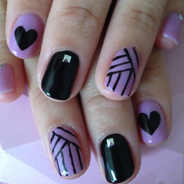 Purple and Black Nails