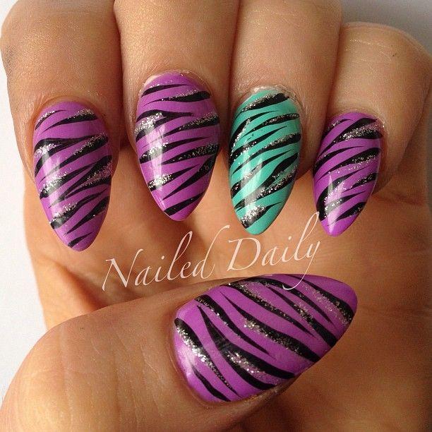 Purple and Zebra Nails