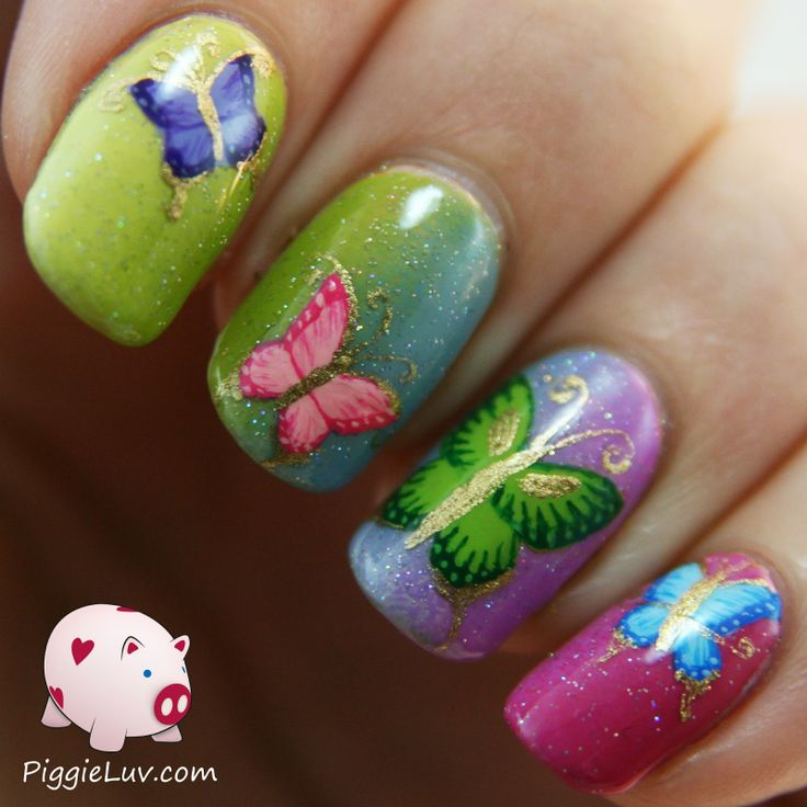 Piggieluv 3d Pull The Curtain Nail Art: 16 Butterfly Nail Designs For The Season