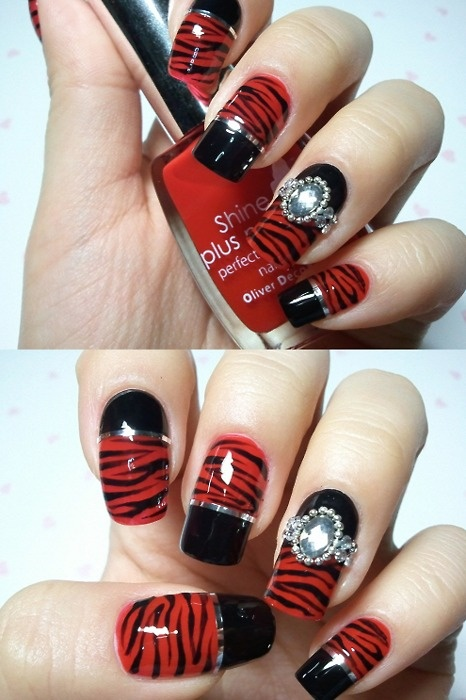 Red Nails with Black Zebra Print