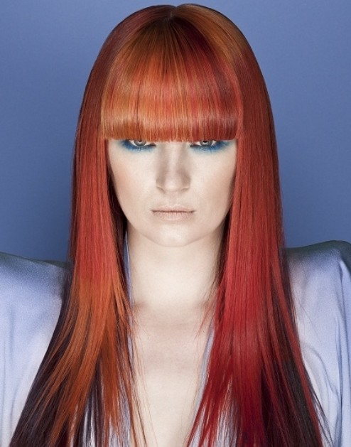 Red Ombre Hair with Blunt Bangs