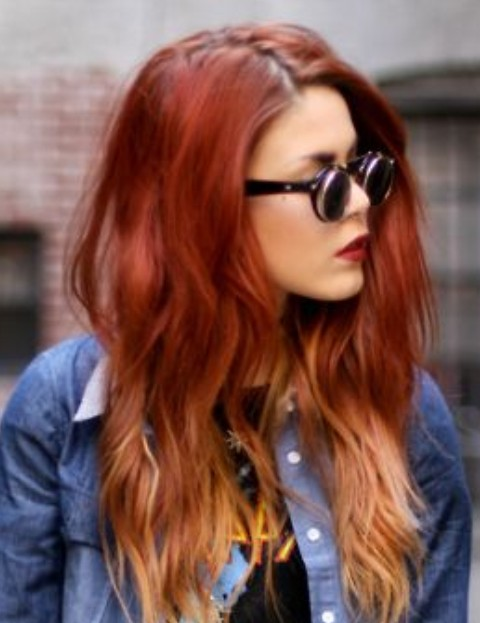 Red Ombre Hair with Side Part