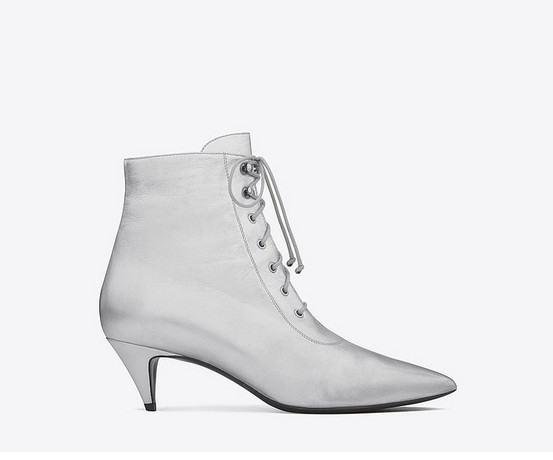 Saint Laurent Cat Boot in Silver Metallic Leather ($795)