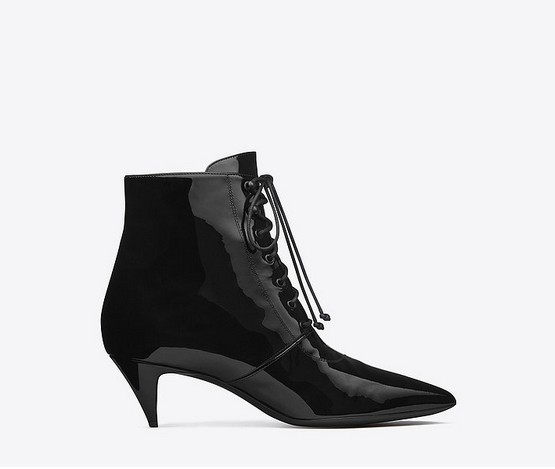 Saint Laurent Cat Boot in Black Patent Leather ($795)