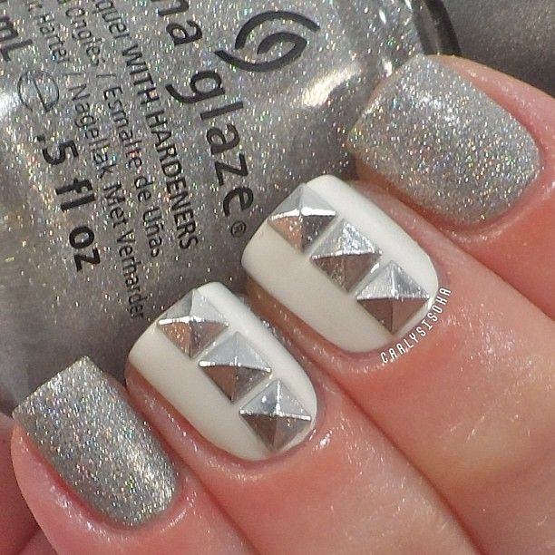 Sliver and White Nails