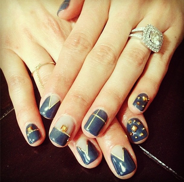 Studded Blue Nails