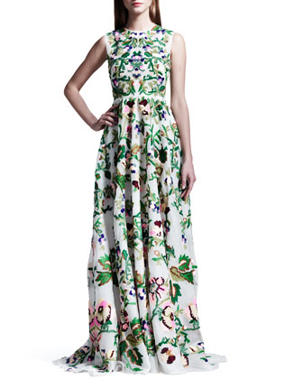 Valentino Embroidered Silk Organza Gown
