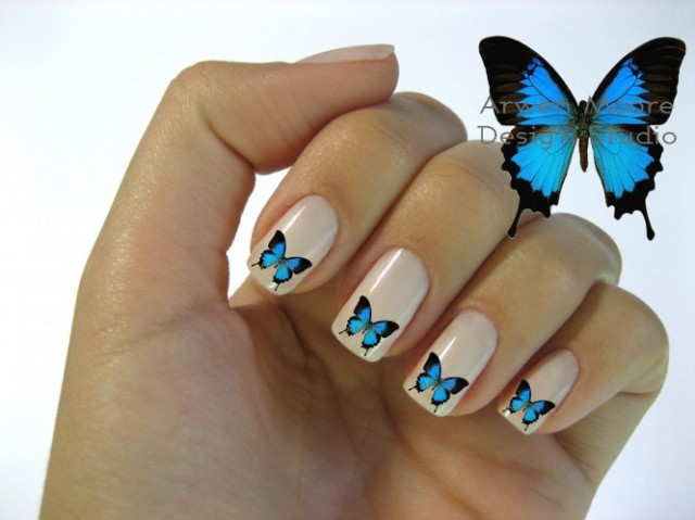 White Nails with Blue Butterfly
