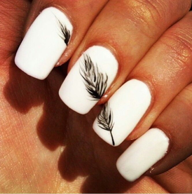 White Nails with Feather