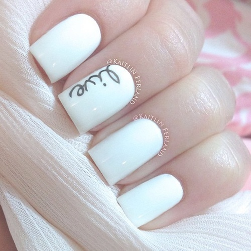 White Nails with Letters - Spring Trend: 16 White Nail Designs You May Love - Pretty Designs