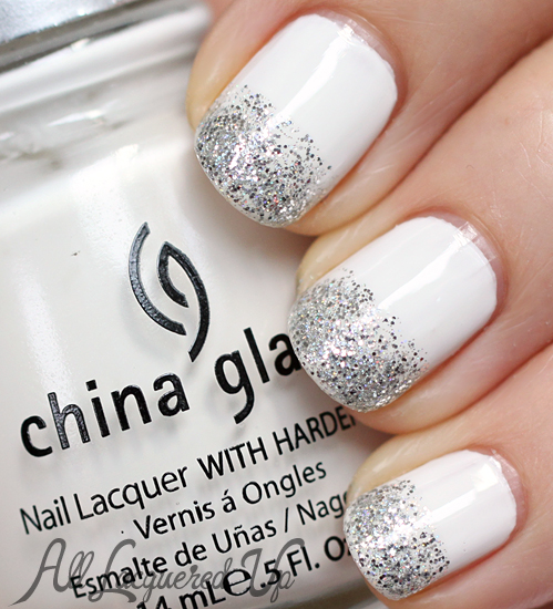White Nails with Sliver Glitter