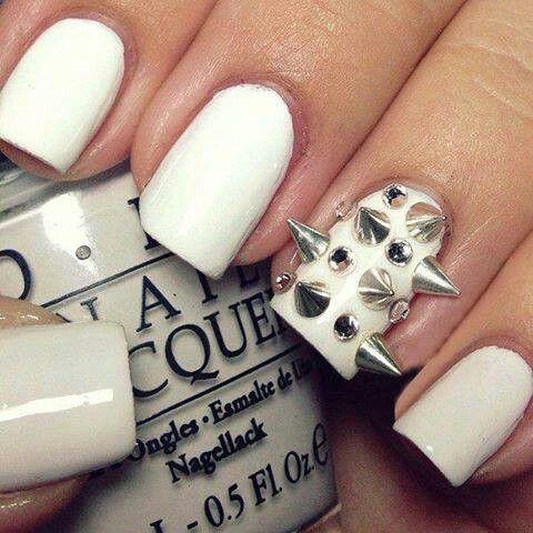 White Nails with Studs