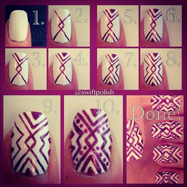 Aztec Nail Designs Tutorial Aztec Nail Art Tutorial Aztec