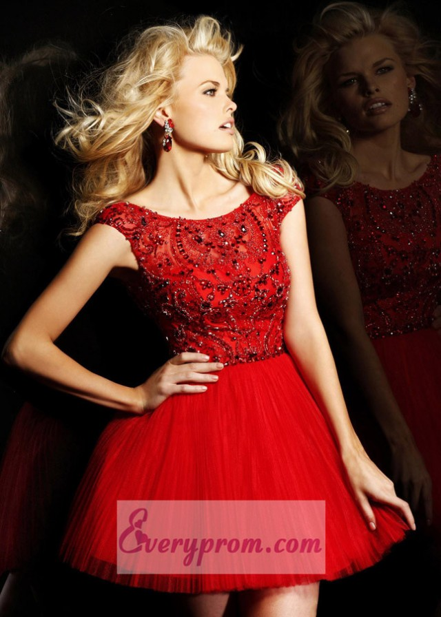 2014 Red Off-Shoulder Pleated Tulle Party Prom Dress