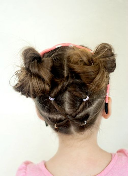 Bow Bun Hairstyle for Little Girls via