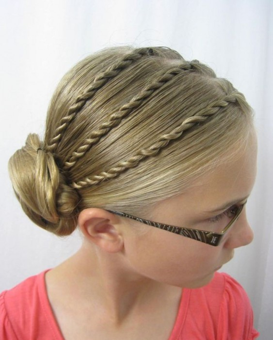Bun Hairstyle for Little Girls via
