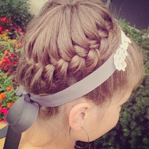Braided Crown Hairstyle for Little Girls via