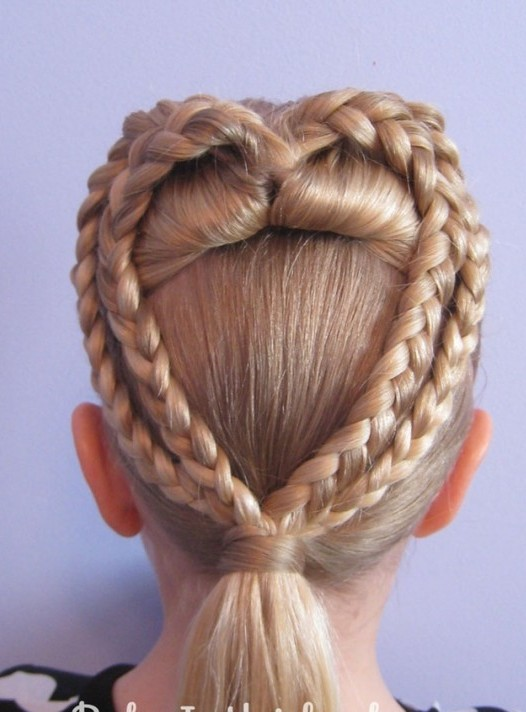 Heart Braid Hairstyle for Little Girls via