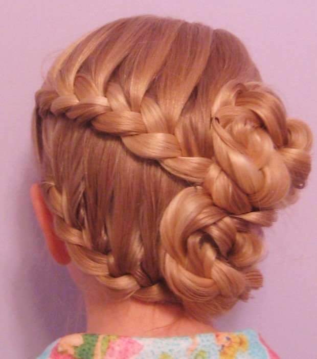 Braided Bun Hairstyle for Little Girls via