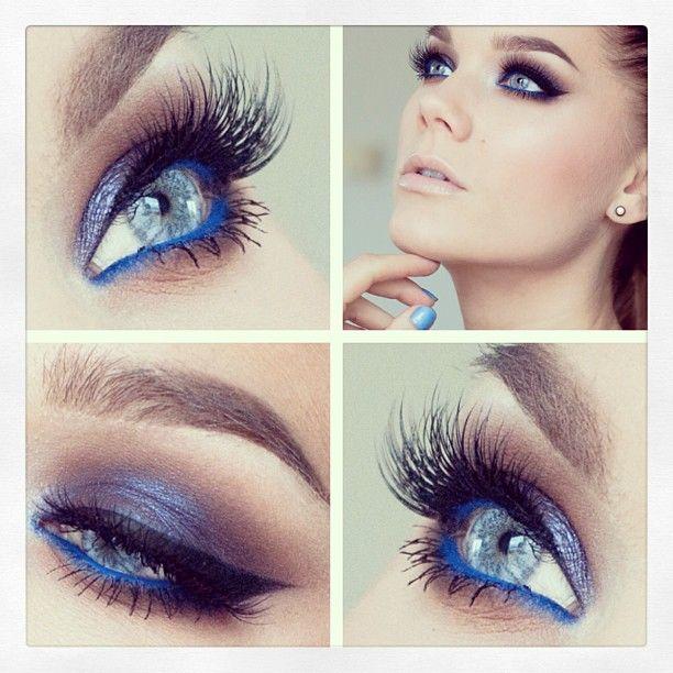 Purple Glitter Eye Makeup for Blue Eyes