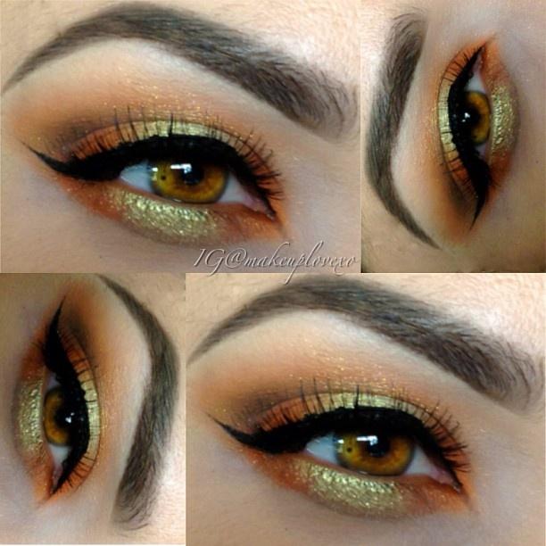 Orange Eye Makeup Ideas: Orange with Green Highlights