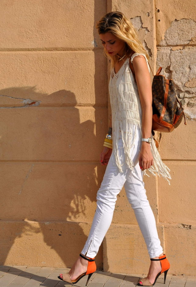 All White Combination Ideas for Stylish Spring Looks: Fringes