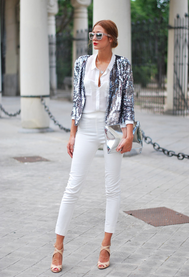 All White Combination Ideas for Stylish Spring Looks: Silver Shimmer