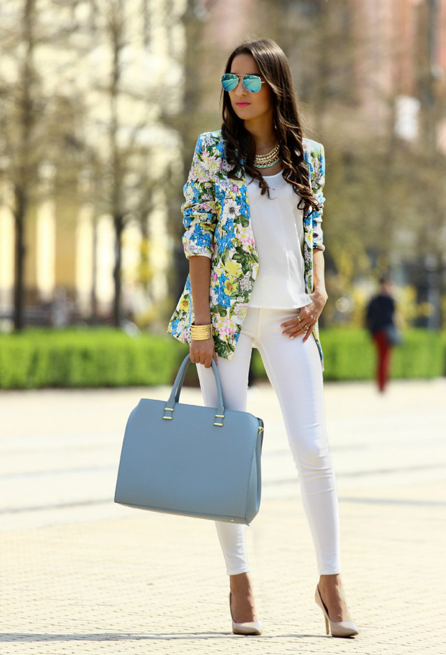 All White Outfit with Floral Blazer