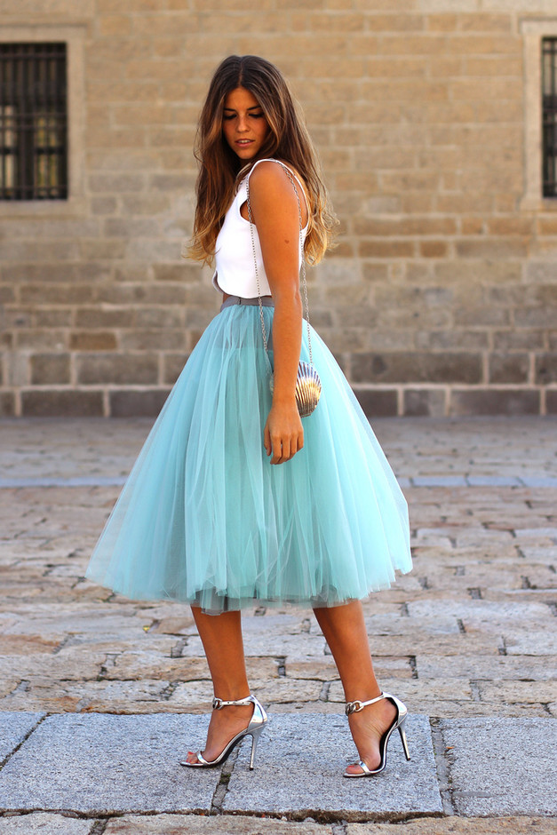 Baby Blue Midi Skirt Outfit