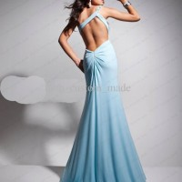 Backless Blue Evening Dress