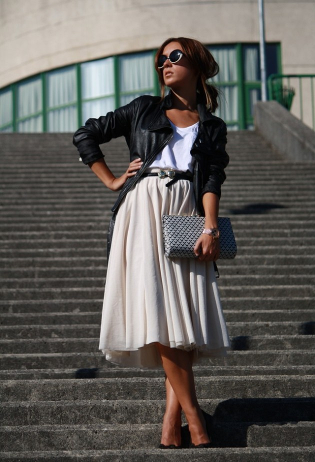 Beige Midi Skirt Outfit