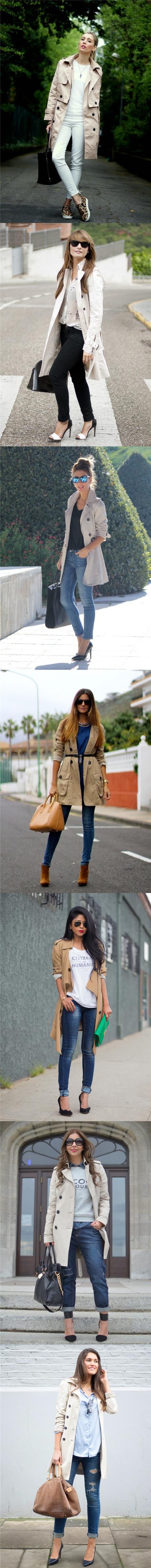 Beige Trench Coats for Women