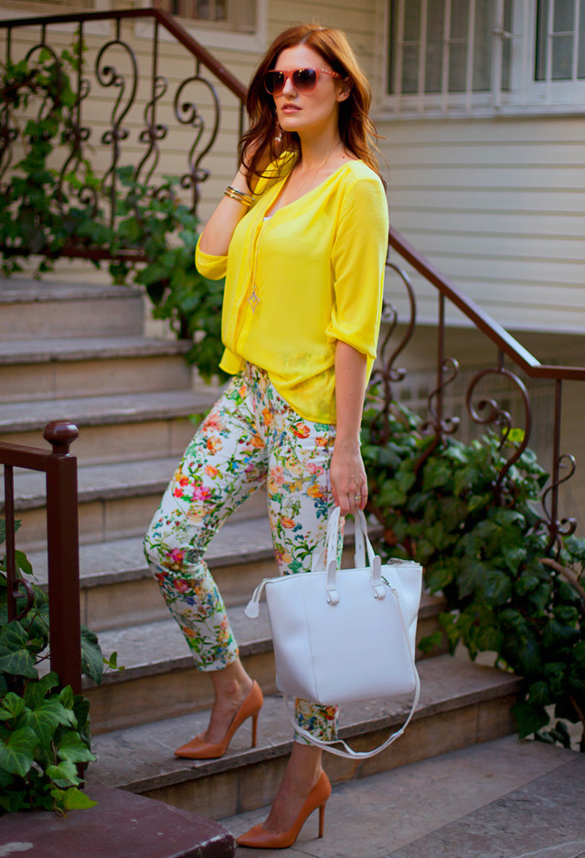 Best Combination Ideas about Floral Pants: Bright Hues