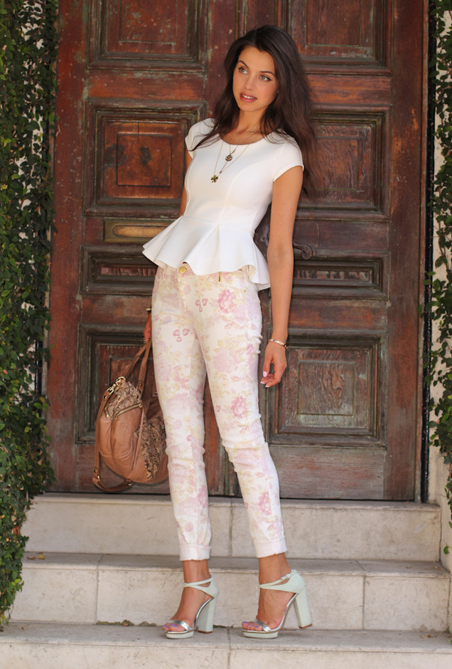 Best Combination Ideas about Floral Pants: Neutral Beige