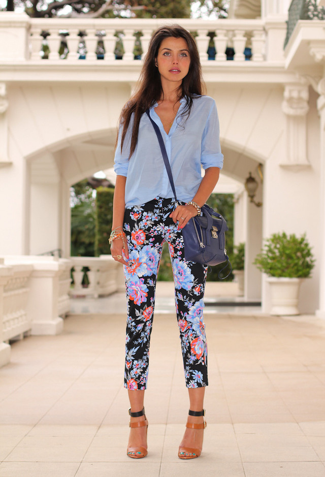 Best Combination Ideas about Floral Pants: Street Style
