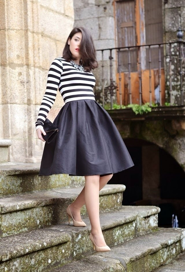 457db842a6 Black Midi Skirt Outfit with a Stripe Shirt via