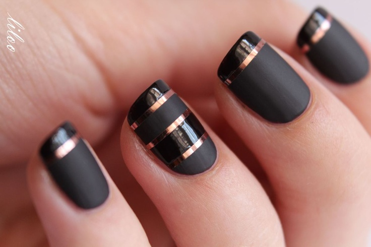 Black Nails with Stripes