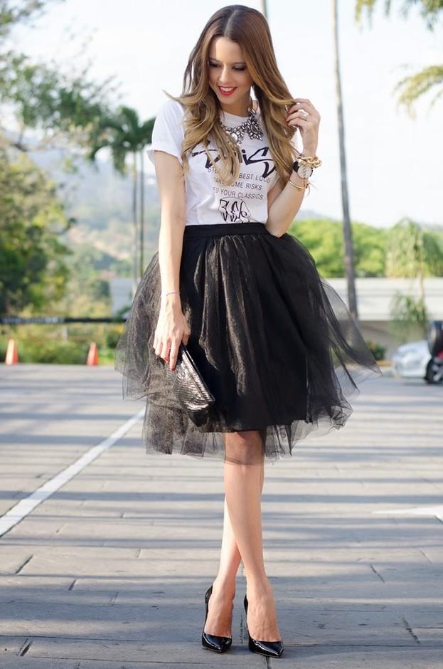 Black Organza Midi Skirt Outfit