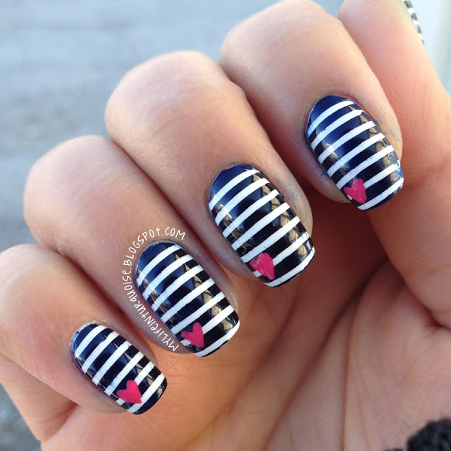 Black and White Striped Nails - 14 Striped Nail Designs For The Season - Pretty Designs