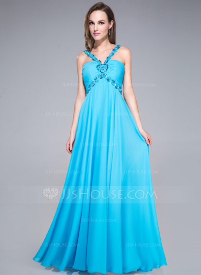 Blue V- neck Prom Dress