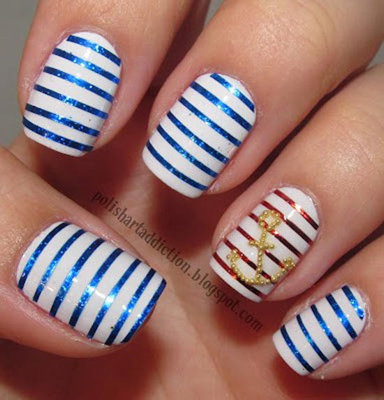 Blue and Red Striped Nails