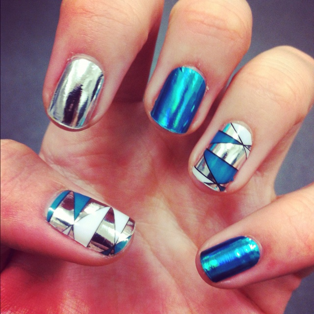 20 minx nail designs you wont miss pretty designs blue and sliver nails prinsesfo Choice Image