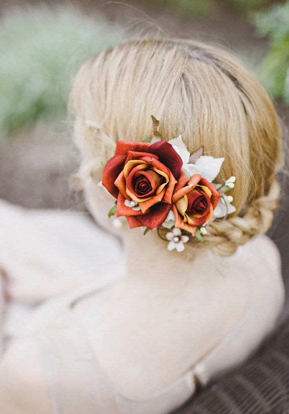 Braided Bun Floral Bride Hairstyle via