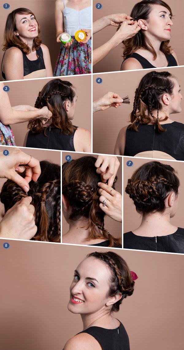 Braided Updo Hairstyle Tutorial for Short Hair