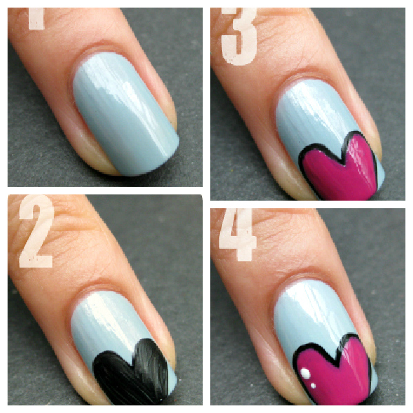 Cartoon Heart Nails