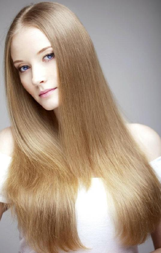 Center-parted Straight Hair