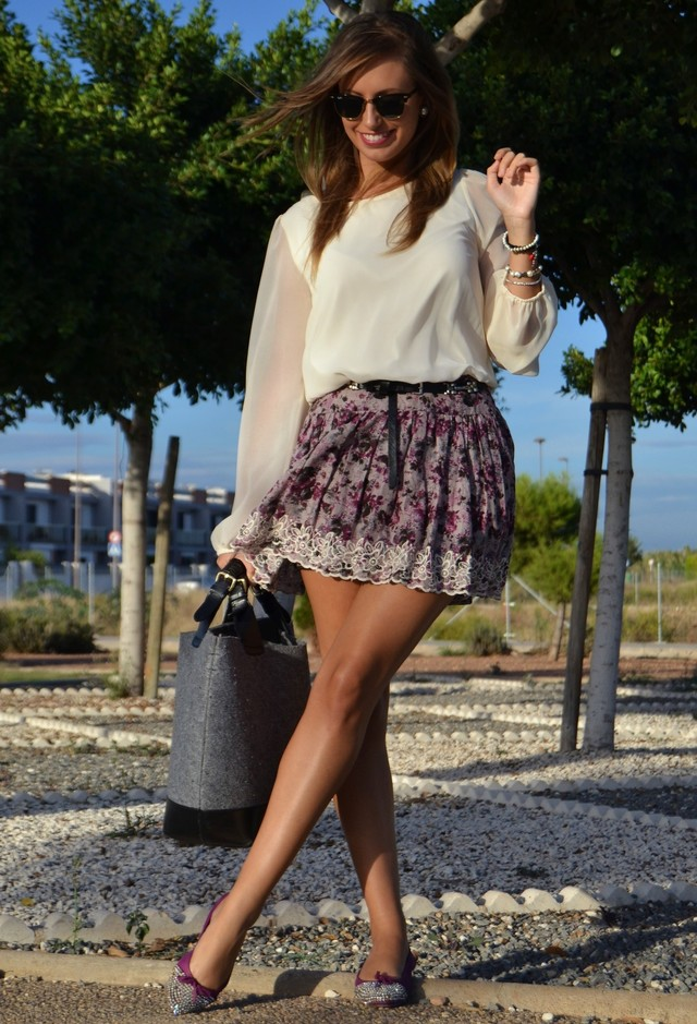 Chiffon Blouse Outfit with a Floral Skirt